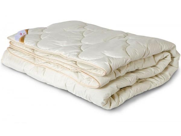 Одеяло стеганое всесезонное из шерсти мериноса в тике (300гр.)